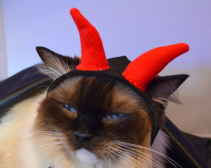 Featured listing image: Cat Halloween costume 'Lucifer' cute devil horns hat, hat for cat, Halloween cat hat, pet hat, Hallhat for dog, Crafts4Cats