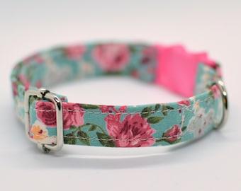 Cat collar 'Rosie Cat' / floral cat collar, breakaway cat collar,mint cat collar, rose cat collar, girl cat collar, Summer cat collar