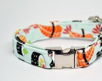 Collar 'Sushi Sashimi' (non breakaway) / cat collar, kitten collar, cat collar with fish charm, cat collar with bell / CRAFTS4CATS