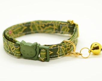 Cat collar 'Christmas Holly' (breakaway)/ cat collar with bell, breakaway cat collar, winter cat collar,green cat collar,gold cat collar