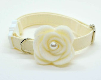 Cat Collar + Rose Flower Set/breakaway or non-breakway cat collar, kitten collar,white cat collar, ivory, Crafts4Cats