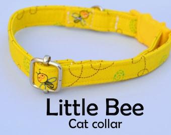 Collar 'Little Bee' (breakaway) / yellow cat collar, kitten collar, cat collar with bell, spring handmade / CRAFTS4CATS