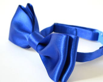 Wedding bow tie / Royal Blue Satin Bow tie /Boy Cat Collar /Collar with Bell for Cats / Breakaway Collar