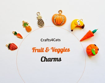 Charms - fruit and vegetables, cute charms for cat collars / Crafts4Cats