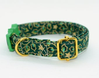 Cat collar 'Winter Green' (breakaway)/ cat collar with bell, breakaway cat collar,luxury cat collar,boy,girl cat collar,kitten collar