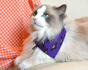 Halloween 'Bats' bandanas for pets / Purple bandana, pink bandana, cat bandana, dog bandana, custom cat  bandana,, Crafts4Cats