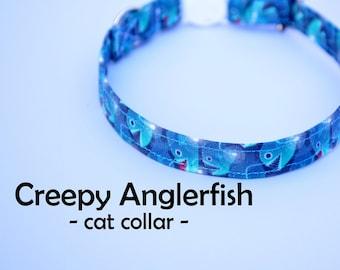 Collar 'Creepy Anglerfish' (breakaway) / fish cat collar, kitten collar, cat collar with bell, spring collar, handmade / CRAFTS4CATS