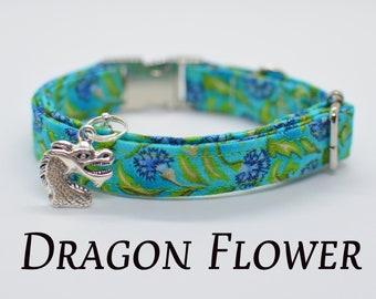 Cat collar with dragon charm // floral cat collar// kitten collar /dog collar breakaway/ green blue cat collar