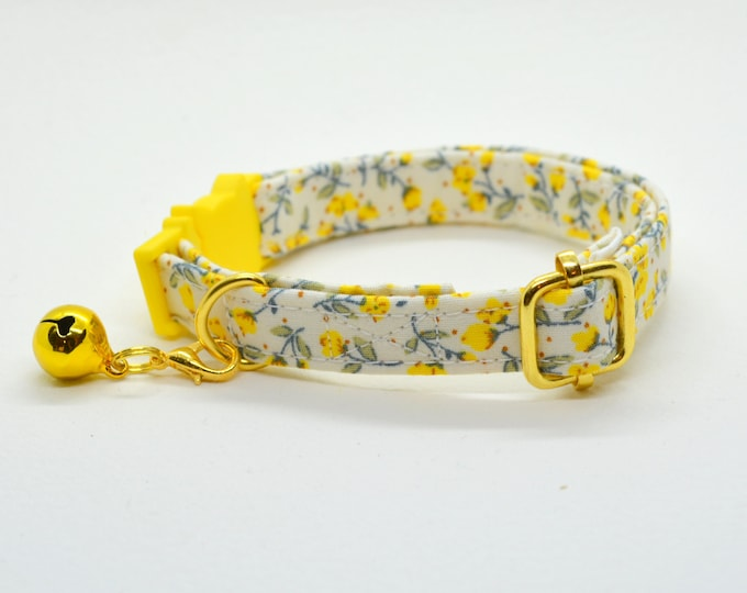 Featured listing image: Collar 'Marigold' (breakaway) / floral cat collar, cat kitten collar, dog collar,floral collar, yellow cat collar, Crafts4Cats