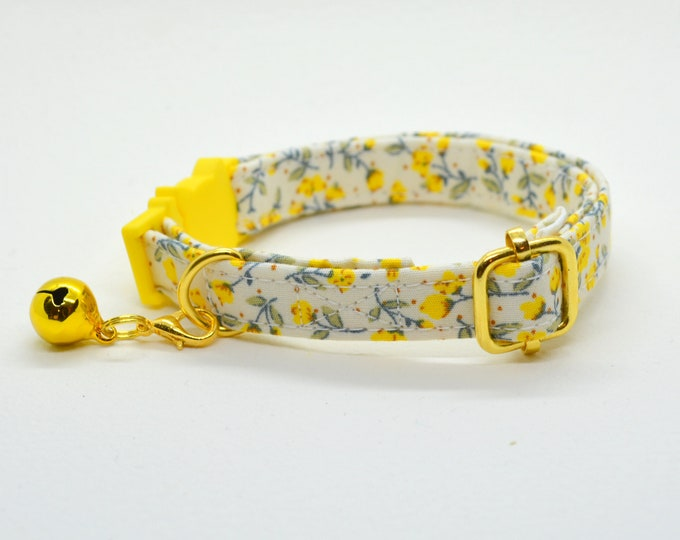 Featured listing image: Collar 'Marigold' (breakaway) / floral cat collar, cat kitten collar, dog collar,floral collar, yellow cat collar, Crafts4Cats