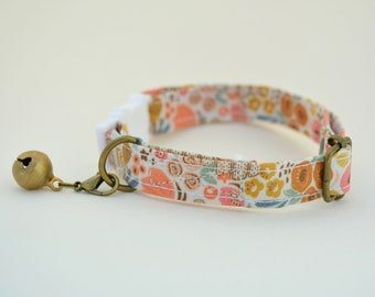 Cat Collar 'Honey' (breakaway) / Floral cat collar, cat kitten collar, dog collar,burnt orange cat collar, purple, Crafts4Cats