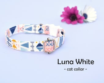 Collar 'Luna White' (breakaway) / organic cotton cat collar, kitten collar, cat collar with bell, spring handmade / CRAFTS4CATS