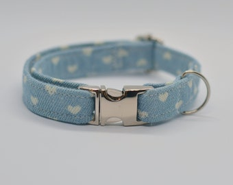 Jeans collar for cat or dog / blue jeans collar / Valentine hearts cat collar / Non brekaway collar / rose / bow tie