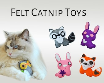 Catnip toys for cats / Felt pink bunny, cute racoon, orange fox, Guaranteed Keep Your Kitties Entertained