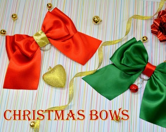 Christmas bows for cats / cat collar bow tie / luxury satin bow tie / breakaway collar / Christmas breakaway cat collar fancy / cat costume