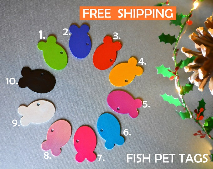 Featured listing image: Cat fish pet tag   Cat ID personalised - cat tag with a bell, dog tag, pet id engraved - Cat and dog collar tag -  gift