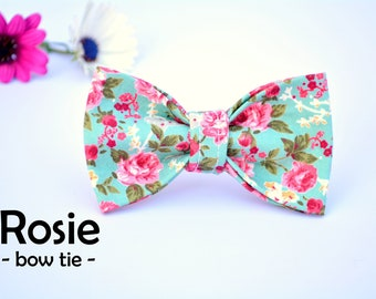 Bow 'Rosie' / floral cat bow tie, rose cat bow tie, cute bow, dog bow tie, handmade / CRAFTS4CATS