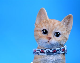 Cat collar with bell 'Jeep'/ cat collar breakway, cars cat collar, blue/red, small dog collar
