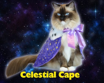 Celestial Cape, costume for cats, Christmas Cloak Costume for Cats with Ermine faux fur, Royal Cloak Dogs, pet costume, costume for dog