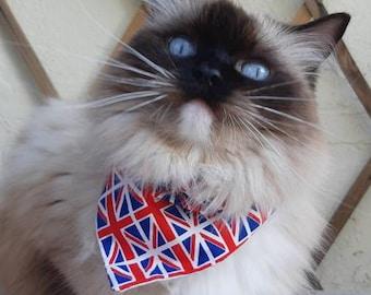 Bandana 'Union Flag' (slip over collar), cat bandana, dog bandana, British flag bandana, English bandana // CRAFTS4CATS