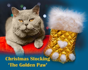 Christmas stocking 'Golden Paw', cat Christmas stocking, Christmas stocking for pet, large Christmas stocking,  stocking dog, ferret