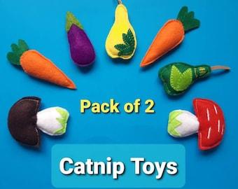 Pack of 2 catnip toys, catnip mushrooms, catnip carrots, catnip plums, catnip aubergine/eggplant, catnip toy, cat nip wool felt cat toy