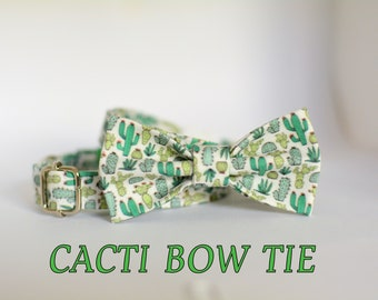 Cacti bow tie // cactus bow tie for collars / removable bow tie