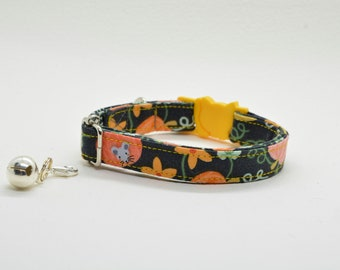Cat collar 'Magic Garden' (breakaway), breakaway cat collar, kitten collar, orange cat collar, automn/fall dog collar, Crafts4Cats