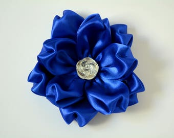 Fancy cat flower bow - Blue Rose cat bow with collar