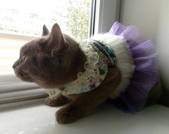 Cat costume / Costume for pet /Costume for dog / Purple floral costume pet / Tutu costume / Cute celebration costume / Crafts4Cats