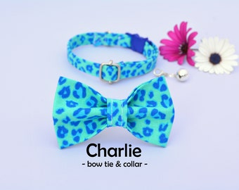 Collar with bow 'Chloe' (breakaway) / leopard cat collar, kitten collar, cat collar with bell, spring handmade / CRAFTS4CATS