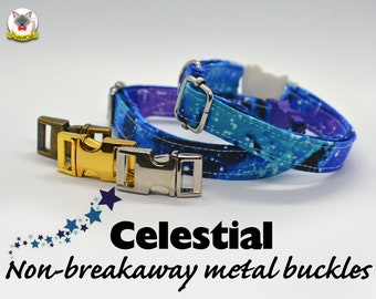 Collar 'Celestial' (non breakaway) / purple, stars, celestial cat collar,kitten collar,galaxy cat collar, collier pour chat ,Crafts4Cats