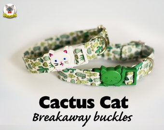 Collar 'Cactus Cats' (breakaway) / Novelty cat collar, cat kitten collar, dog collar, novelty collar, green cactus cat collar, Crafts4Cats