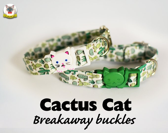 Featured listing image: Collar 'Cactus Cats' (breakaway) / Novelty cat collar, cat kitten collar, dog collar, novelty collar, green cactus cat collar, Crafts4Cats