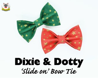 Cat bow tie 'Dixie & Dotty' / Christmas cat collar bow tie,red/green bow tie, golden stars,celestial christmas bow tie,cute pet bow tie
