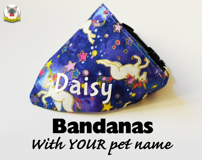 Featured listing image: Bandanas Personalised - with Your pet name / Gold or white text - any font / Unicorns and Princes pink crowns with glitters / neck kerchif