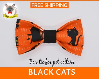 Cat bow tie//Black Cats//pull on bow tie, breakaway cat collar, kitten collar, cat collar,Halloween cat bow tie, dog bow tie,orange bow tie