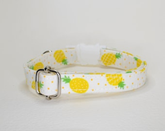 Collar 'Pineapples' (breakaway) / cat collar, kitten collar, cat collar with, pineapples cat collar, tropical cat collar, CRAFTS4CATS