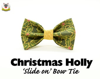 Cat bow tie 'Christmas Holly' //green gold bow tie for collars, dog bow, cat bow, removable bow tie,Cat collar, Crafts4Cats