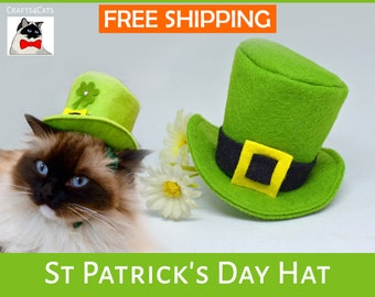 St Patrick's day hat for cat, hat for bunnies, top hat, Leprechaun Hat, St Patricks day hats for dogs