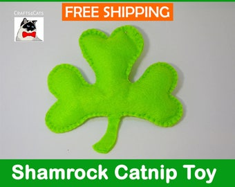 St Patrick's Day catnip cat toys, Pair of Shamrock Catnip Cat Toys, St Patricks Clover Cat Toy, Irish Cat Toy, Green Clover Cat Toy