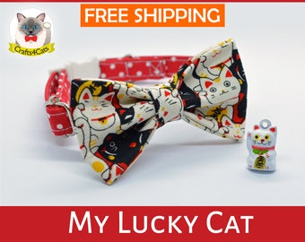 Cat collar & bow // My Lucky Cat // Maneki Neko bow tie, safety breakaway cat collar, kitten collar, cute, cat collar with bell
