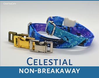 Celestial cat collar /purple cat collar non-breakaway / stars, celestial cat collar,kitten collar,galaxy cat collar,Crafts4Cats