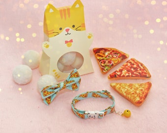 Pizza Cat collar + catnip toy + cat bow / breakaway collar / breakaway cat collar fancy / gifts for cats / free shipping /Christmas