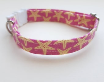 Collar 'Sea Stars' (breakaway) / starfish cat collar, kitten collar, cat collar with bell, cat collar with bell / CRAFTS4CATS