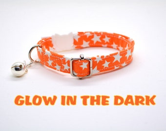 Cat collar 'Stars' (breakaway), celestial orange cat collar, automn/fall dog collar, halloween collar, Crafts4Cats