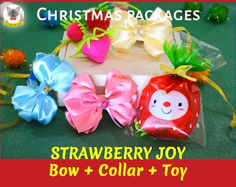 Christmas Gifts: Cat collar + bow + catnip toy + gift wrap / breakaway cat collar /  strawberry toy / unique gifts for cats / free shipping