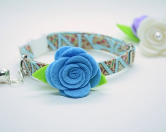 Cat collar + Rose flower// Pizza cat collar // kitten collar, cat collar, breakaway, non breakaway, blue cat collar, crafts4cats
