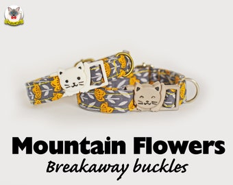 Collar 'Mountain Flowers' (breakaway) /burnt orange, floral cat collar, kitten, grey gray, collier pour chat ,Crafts4Cats