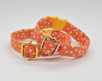 Breakaway cat collar, orange collar, pumpkin charm & bell, burned orange Autumn Fall cat collar, Crafts4Cats